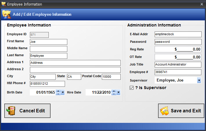 Edit Employee Information